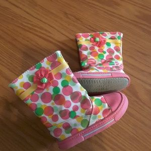 Size 6 girls floral and polka dot boots pink multi